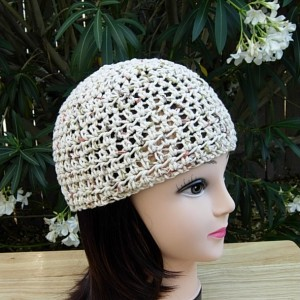 Light Natural Brown Summer Beanie, 100% Cotton Lacy Skull Cap Women's Crochet Knit Lightweight Hat, Beige Chemo Cap, Ready to Ship in 3 Days