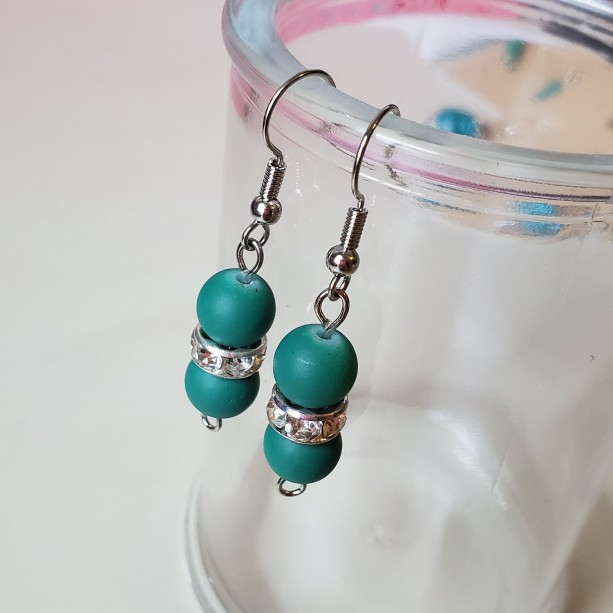 Gorgeous Handmade Teal Drop Dangle Glass Earrings