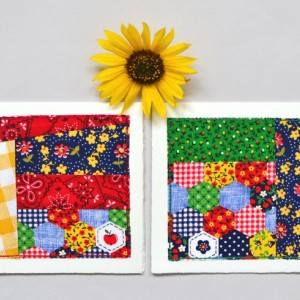 Bright fabric card set -- two patchwork quilt block cards made by hand