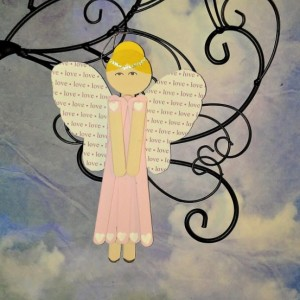 Pink Love Angel Wall Art / Hanging Wooden Angel / Personalized Gift for Valentine / Gift for Girlfriend