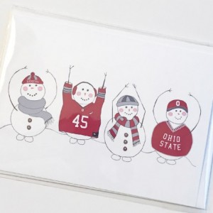 Set of three (3) OHIO Snowman blank greeting cards. Snowman card. Blank greeting card. Ohio State card. Ohio State Buckeyes. OSU card. OHIO card.
