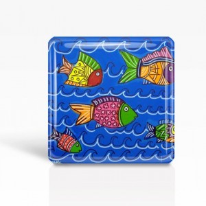 "Mexican Folk Art- TROPICAL FISH - Glass MAGNET By Artist A.V.Apostle- 2""x 2"""