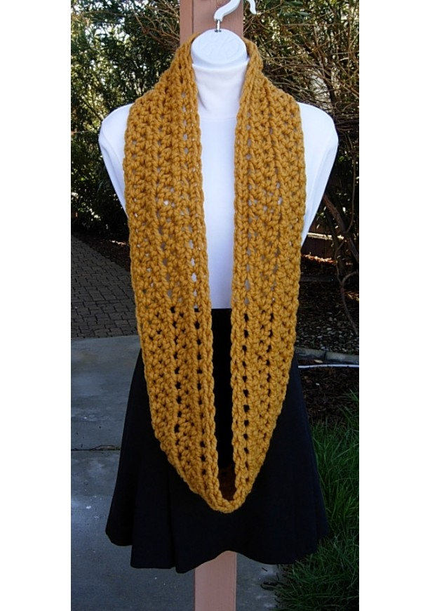 Mustard Yellow Chunky Crochet Knit Infinity Loop Scarf