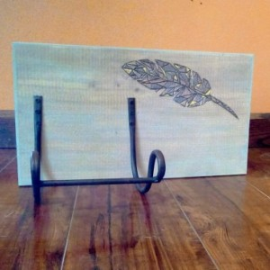 Reclaimed Wood Wine Bottle Holder with Burned Feather Design