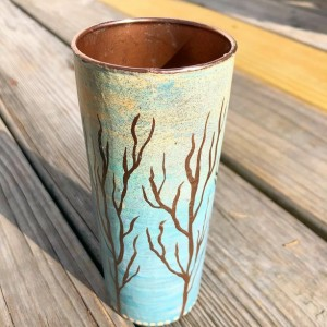 Handpainted Winter Treeline on Repurposed Glassware