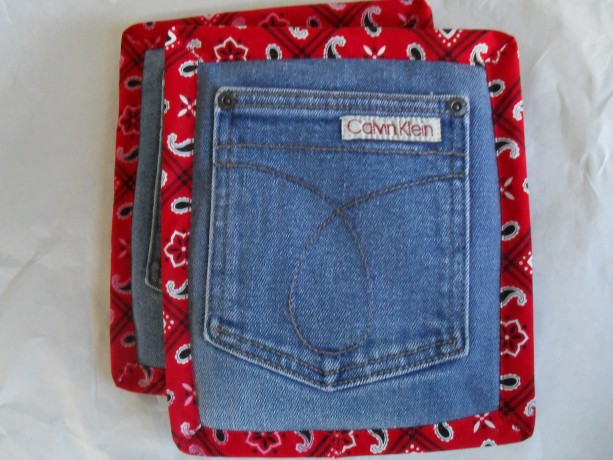 Recycled Denim Potholders Pair