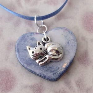 For the Love of the Craft Mixed Media Blue Cat Heart Charm Pendant