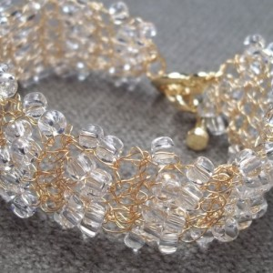 Crystal Seed Bead Bracelet Crocheted Bridal Vintage Style Wedding Cuff Jewelry Gold Plated Wire