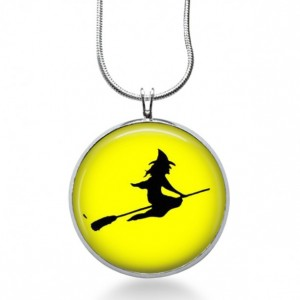 Witch Silhouette Necklace - Halloween Jewelry - Flying Witch Pendant - Fall