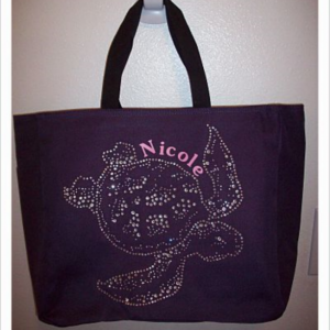 Personalized Rhinestone Turtle Tote Bag with Pockets