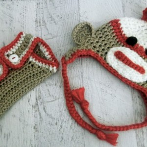 Sock Monkey Hat & Buttoned Diaper Cover Set