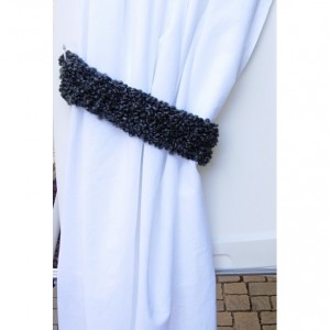 Black & Dark Gray Curtain Tiebacks, One Pair of Soft Thick Tie Backs, Drapery Drapes Holders, Fluffy Soft Crochet Knit, Simple, Customizable, Ready to Ship in 2 Days