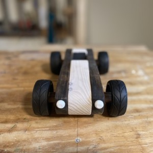 Handcrafted Wood Push Car - 1960's Roadster