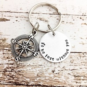 I'd be lost without you keychain, long distance relationship, compass charm, hand stamped keychain, Compass keychain