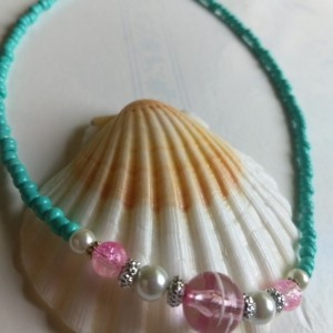 Aqua Blue Seed Beads with White Glass Pearls Pink and Silver Beads Necklace