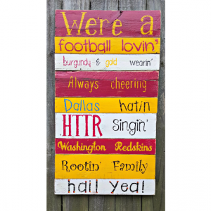 Hand Painted Reclaimed Pallet Wooden NFL Football Washington Sign