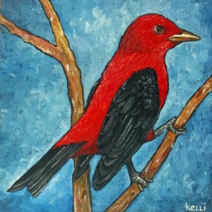 """Scarlet Tanager"" original oil painting"