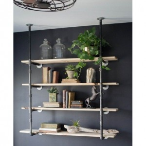 "Black Pipe Bookshelf, Open Bookshelf, Wall/Ceiling Mounted Bookshelf, Complete Pipe Parts Kit for ""DIY"" Project"
