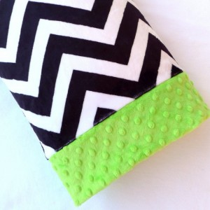 Toddler Child Minky Pillowcase - Navy Blue and Creamy White Chevron Minky with Lime Green Cuff - Chevron Pillow Cover - Chevron Pillowcase