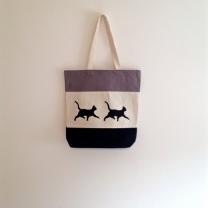 Black cat canvas tote bag, black walking cat silhouette, halloween, trick or treating, cat lady, gift for cat lover, reusable grocery bag