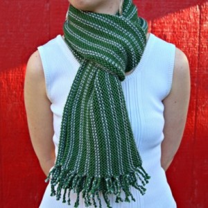 Green & Gray Fringed Striped Scarf