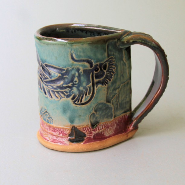 Dragon Pottery Mug Coffee Cup Handmade Microwave and Dishwasher Safe