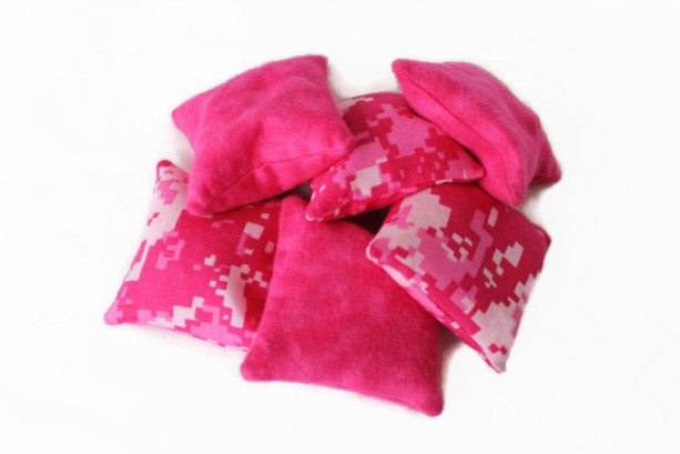 Pink Camouflage & Flannel Bean Bags (set of 6) Party Favor Toss Game - US Shipping Included