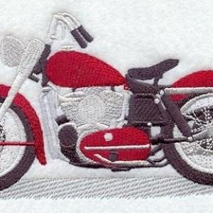 BATh towels 6 pc SET Embroidered - Antique Motorcycle