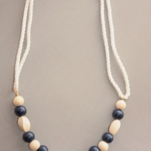Navy and White Wood Beach Necklace, Nautical Necklace