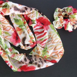 Scarf and Scrunchie Set - Infinity or flat scarf, multicolor print, handmade, womens accessories, scrunchy