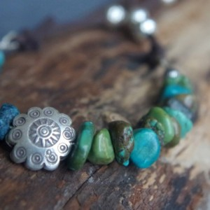 """Turquoise necklace with Sterling Silver, Thai Hill Tribe Silver, dark brown faux suede - Boho - 29"""" long - Animal friendly gypsy necklace"""