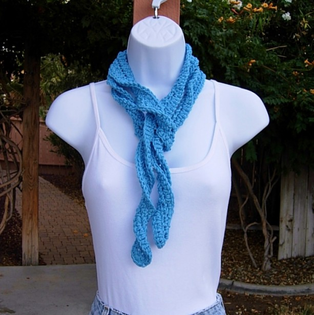 Solid Hot Blue Skinny SUMMER SCARF Women's Small Cotton Spiral Crochet Knit Narrow Lightweight Bright Blue Neck Tie, Ready to Ship in 2 Days