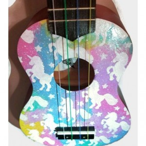 Concert Galaxy Unicorn Ukulele, Hand Painted Ukulele, Decorated Ukulele, Galaxy Paint, ukulele instrument, Soprano, tenor, baritone, guitar