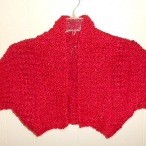 "A Very Soft Crocheted Red Shrug, ""Little Lady in Red"" shrug, A Bright Red crocheted Shrug with a lot of texture, ""Little Lady in Red"" shrug"