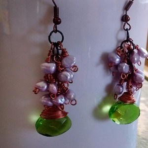 Peridot Crystal Briolette Cluster Dangling Earrings wrapped in Copper with Lavender seed pearls