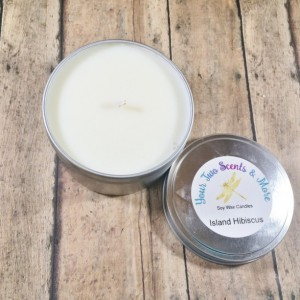 Island Hibiscus Natural Soy Candle, Soy Wax Candle, Vegan Candle, Eco Friendly Candle, Scented Soy Candle, Handmade Candle, 8 Oz Candle Tin