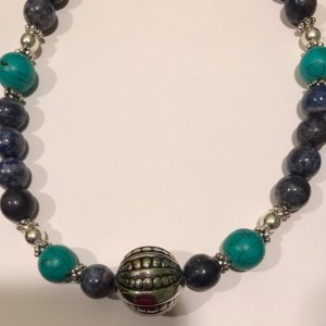 Blue, Turquoise Acrylic And Metal Beaded Necklace.