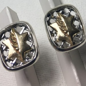 10k Israel medal of valor sterling silver cufflinks