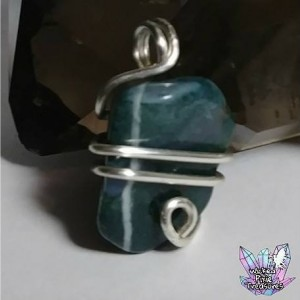 Moss Agate(Natural) Crystal Pendant / Natural Crystal Jewelry / Healing Crystal Jewelry / Crystal / Gemstone Pendant /Wire Wrapped Jewelry