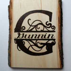 Wood burning Name sign- Custom name sign for wedding - monogram - surname art