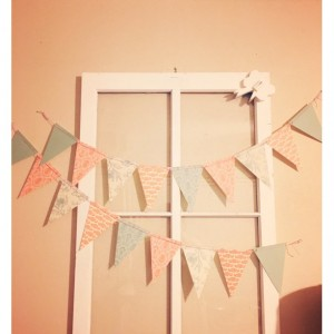 Coral and Mint English Tea Party Paper Bunting