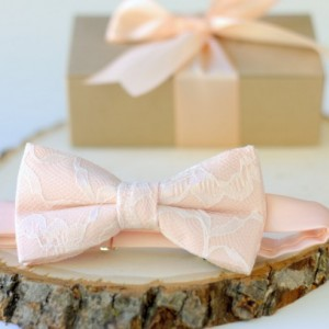 Peach and Ivory Lace Bow Tie - Peach Mens Bow Tie - Peach Pre-Tied Bow Tie - Peach Bow Tie - Ivory and Peach Bow Tie - Wedding Bow Tie