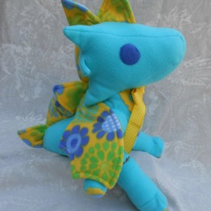 Large Turquoise and Yellow Flower Print Dragon