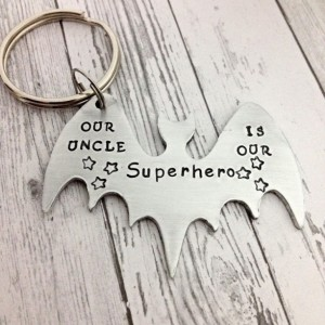 Father's Day gift for dad, Superhero keychain, uncle keychain,  bat keychain, dad gift, comic book keychain, man keychain, godfather gift