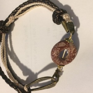 Tourmaline stone donut brown leather bracelet,with bronze tone connector ring. #B00249 Expired Photos
