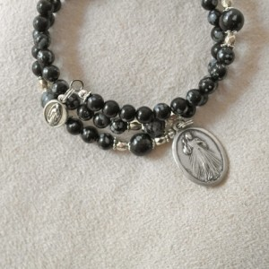 Rosary Bracelet of Snowflake Obsidian Beads and Silver Plated Medals