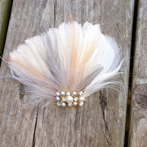 Peach and Gray, Feather Hair Clip, Wedding Hair Accessories, Bridal Hair Fascinator,Vintage Style Fascinator, Great Gatsby, Bridal Comb,
