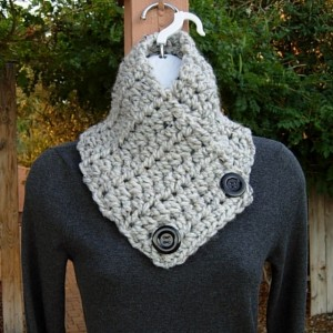 Light Gray Tweed NECK WARMER SCARF with Two Large Black Buttons, Thick Buttoned Cowl, Wool Blend, Grey Crochet Knit, Ready to Ship in 3 Days