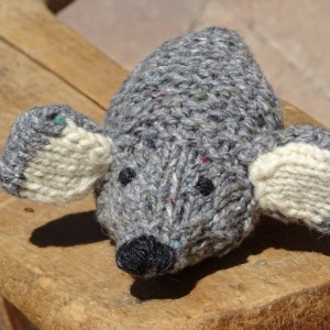 Hand Knitted Mouse, Wool Toy, Stuffed Mouse, Grey Mouse, Plush Toy