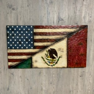Wood Split US Flag and Mexico Flag